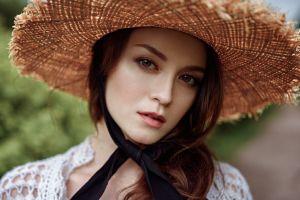 looking at viewer women outdoors straw hat depth of field women face anastasia zonova georgy chernyadyev women with hats portrait model bokeh brunette outdoors