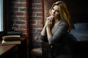 looking away carla sonre pink nails model face sitting damian piórko women dress portrait blonde books chair