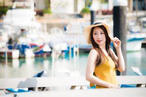 looking away model depth of field women with hats brunette portrait asian women dress women outdoors
