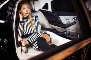 looking away model inside a car open door red nails women dress women with cars blonde legs crossed car knee-high boots red lipstick portrait ivan gorokhov