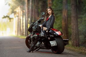 looking into the distance alina panevskaya sitting heels knee-highs leather jackets thigh-highs women outdoors boots cat ears depth of field women with motorcycles women outdoors road