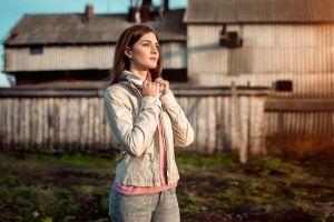 looking into the distance jacket women women outdoors model aleksandr suhar pink sweater outdoors white jacket depth of field portrait brunette polina jeans