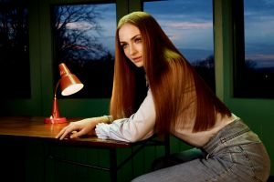 looking into the distance straight hair redhead sophie turner sitting women indoors actress women celebrity long hair