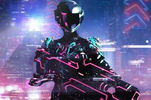 mag (warframe) retrowave warframe futuristic cyberpunk neon weapon