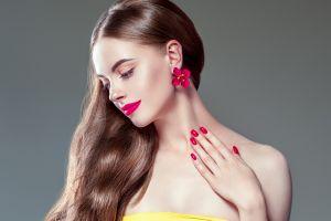 makeup women model simple background painted nails brunette portrait
