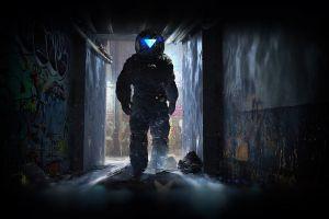 male artwork dark astronaut