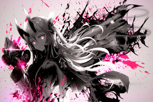 mask anime girls gas masks anime splatter paint splatter