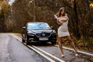 mazda 6 outdoors dress women smiling depth of field looking at viewer red lipstick standing road model car women with cars touching hair women outdoors