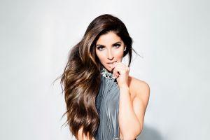 melissa molinaro simple background brunette women model canadian finger in mouth portrait