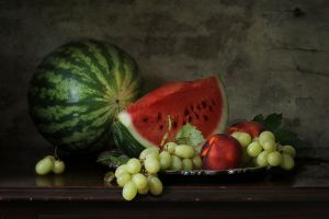 melons watermelons peaches food still life grapes fruit