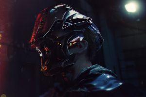 men futuristic cyberpunk science fiction