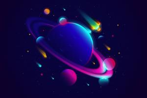 meteors comet space digital art stars gradient planet vector