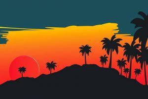 minimalism digital art landscape mountains sunset palm trees
