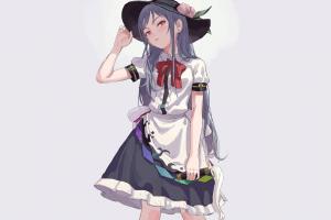 minimalism gray hair maid schoolgirl manga anime girls simple background anime hat