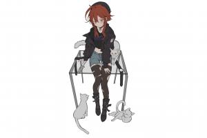 minimalism stockings anime simple background cats anime girls manga berets shorts redhead knife