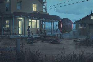 mist futuristic grass farm city simon stålenhag spaceship children