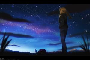 mleth anime sky anime girls landscape