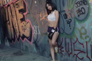 model asian crop top women graffiti belly sportswear photography
