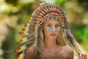 model bare shoulders looking at viewer blonde women native american clothing headdress depth of field 500px