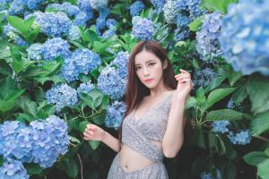 model belly long hair asian women women outdoors flowers brunette looking at viewer