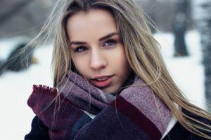 model black coat long hair hazel eyes scarf looking at viewer open mouth blonde women coats