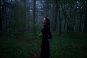 model black dress mist brunette looking into the distance depth of field marat safin forest russian model russian women women
