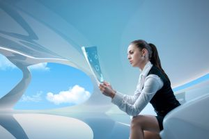 model brunette ponytail futuristic reading women