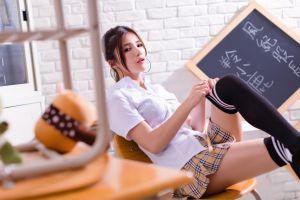 model brunette women shirt black board sitting knee-highs women indoors looking at viewer hoop earrings asian miniskirt