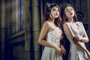 model closed eyes white dress women asian brunette red lipstick