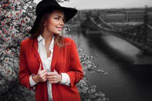 model coats white shirt black hat red coat women with hats blonde ivan gorokhov looking away maria puchnina millinery mary jane