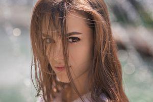 model dmitry sn hair in face portrait brunette brown eyes margarita chelnokova women face dmitry shulgin