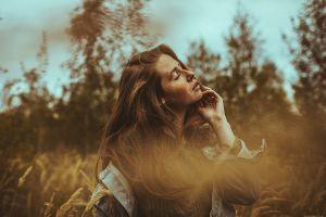model face women women outdoors closed eyes brunette