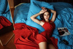 model in bed brunette red dress red georgy chernyadyev women blue lying on back tatyana kozelkina mirror