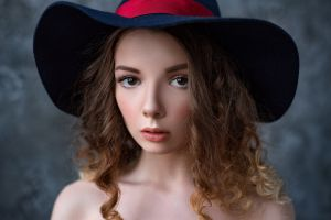 model indoors looking at viewer venera gudkova women portrait women indoors depth of field max pyzhik hat brown eyes brunette face women with hats bare shoulders