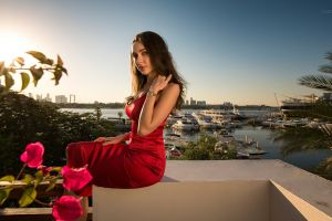 model ivan gorokhov sky cleavage horizon sunlight red dress side view balcony watch brunette sea dress outdoors women