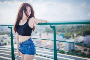 model jean shorts long hair looking away brunette photography women asian dark hair