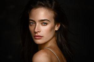 model lips looking at viewer women portrait georgy chernyadyev dark background brunette face