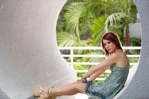 model looking at viewer elle alexandra legs redhead women