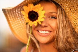 model looking at viewer flowers women christopher rankin sunflowers blonde smiling women with hats