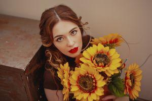 model looking up red lipstick hazel eyes flowers brunette women