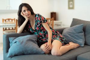 model luigi malanetto women looking at viewer nicole women indoors dress couch tiptoe kneeling nicole (model)