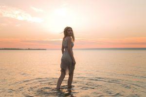 model outdoors in water women aleksey lozgachev blonde dress horizon looking at viewer women outdoors sea sunset portrait