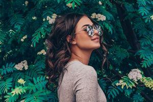 model plants face women with glasses portrait women