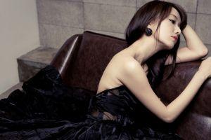 model portrait brunette couch women asian photography black dress dress