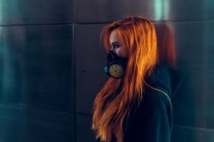 model portrait hoods profile redhead blouses women looking away blouse sweatshirts long hair gas masks mask