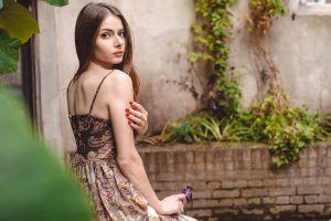 model portrait sitting brunette looking at viewer red nails women women outdoors dress jose sotelo