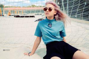 model sunglasses outdoors women with shades women t-shirt miniskirt dyed hair sitting earring depth of field portrait women outdoors daria klepikova nose rings