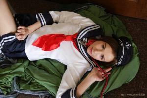 model tokyo doll.tv on floor sailor uniform lying down women glafira e collar skirt blue eyes pleated skirt