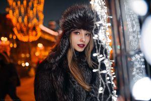 model urban street black coat depth of field women fur coats bokeh red lipstick women outdoors coats ivan proskurin winter straight hair alice tarasenko