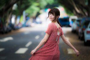 model women dress looking at viewer women outdoors street car depth of field asian brunette